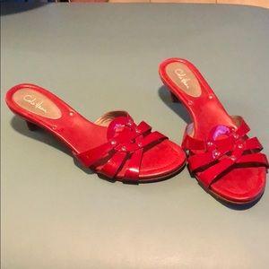 Cole Haan red kitten heel slides size 8.5